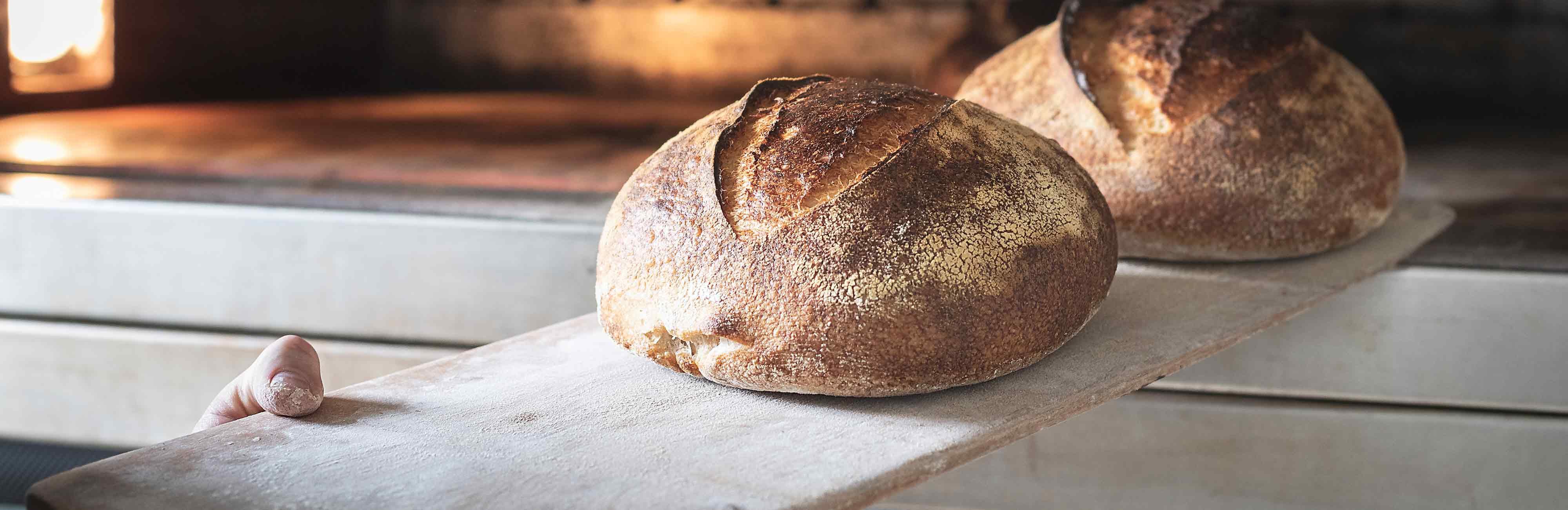 Carls Hofbäckerei - Brot wird aus dem Ofen geholt